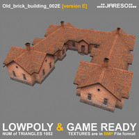 low-polygonal brick building old 3d 3ds