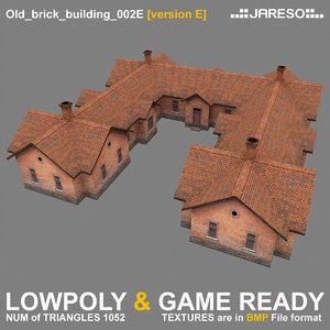 low-polygonal brick building old 3d 3ds