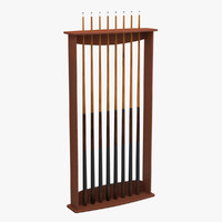 3d billiard stick rack 01