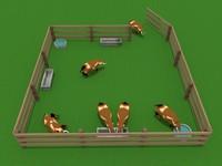 boar pigs engraving 3d model