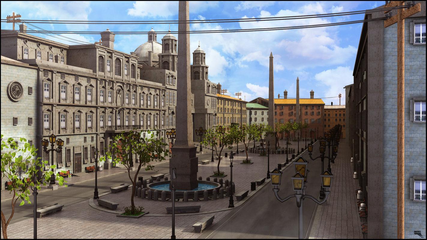 3d piazza rome set