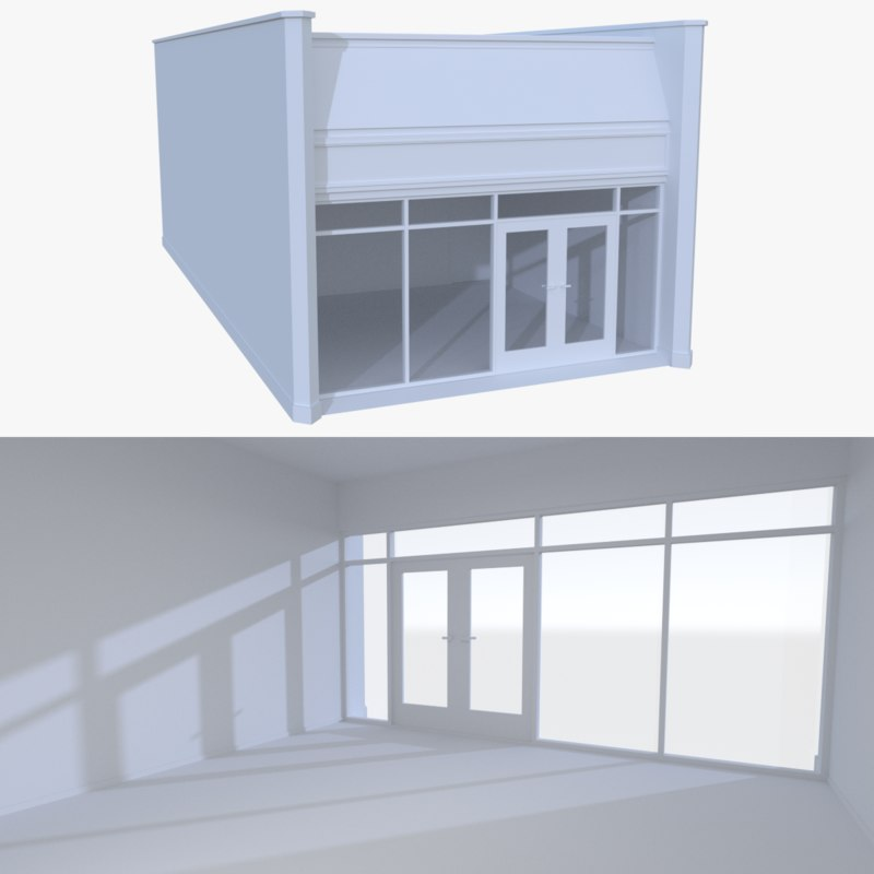 3d strip mall store unit model
