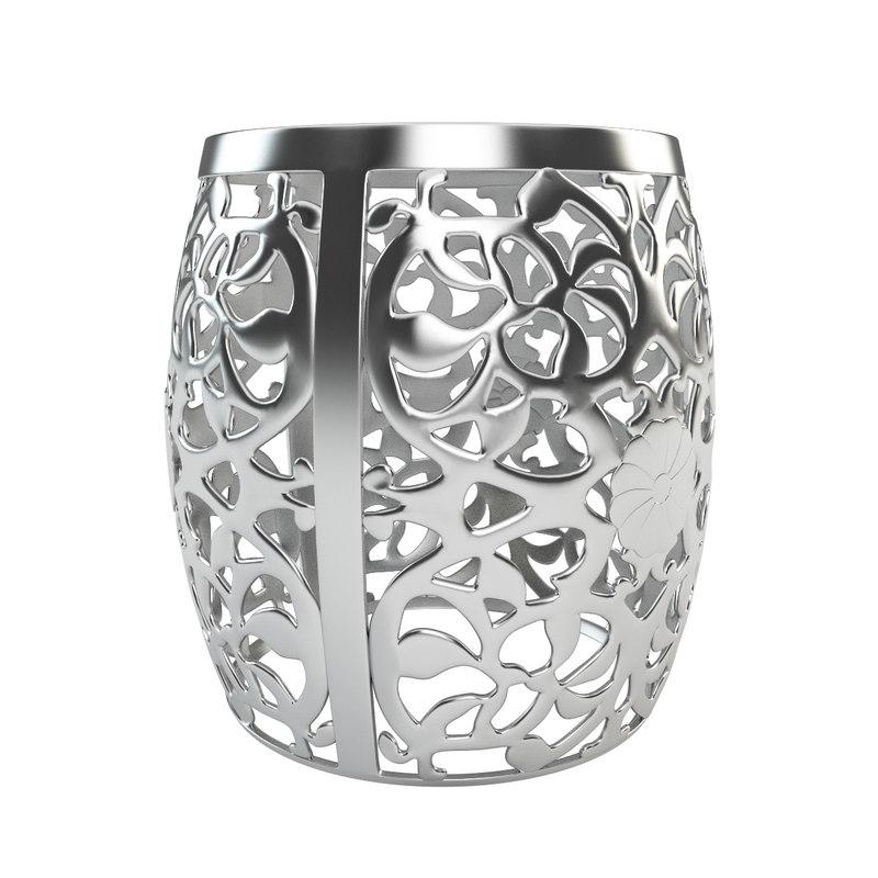 3d model stool fretwork aluminum