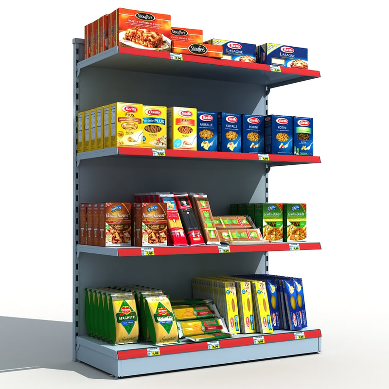 3d supermarket shelves pasta model