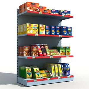 3d supermarket shelves pasta model
