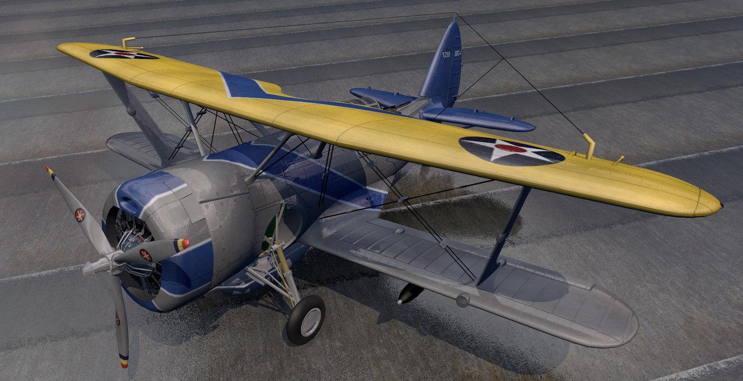 plane curtiss sbc-4 helldiver 3d 3ds