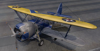 plane curtiss sbc-4 helldiver 3d 3ds
