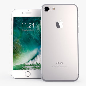 3d iphone 7 silver mobile phone