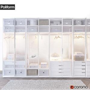poliform ego wardrobe 3d model