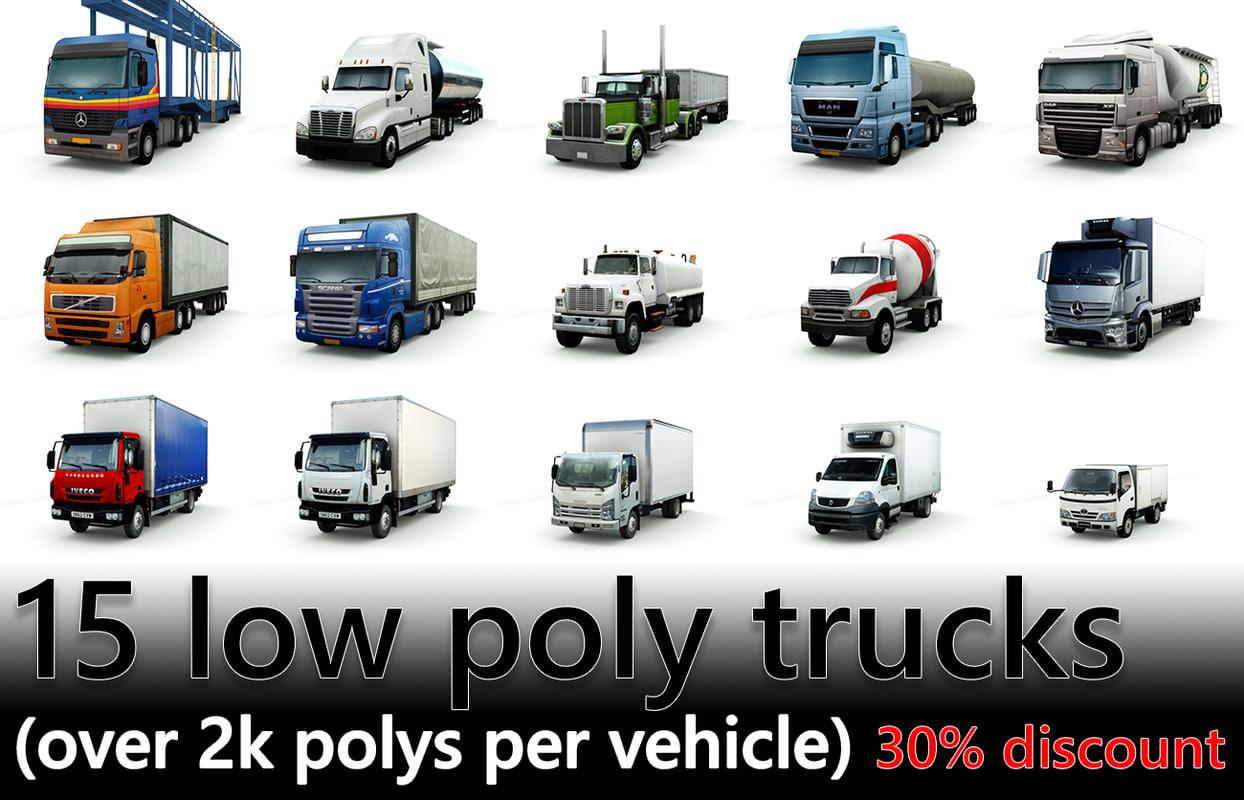 3d model of 15 trucks vol1