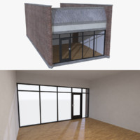 strip mall store unit 3d obj