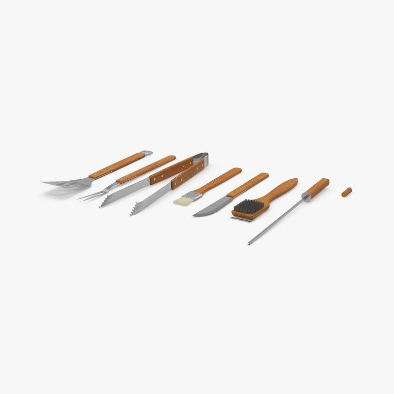 3d wood bbq tool set model