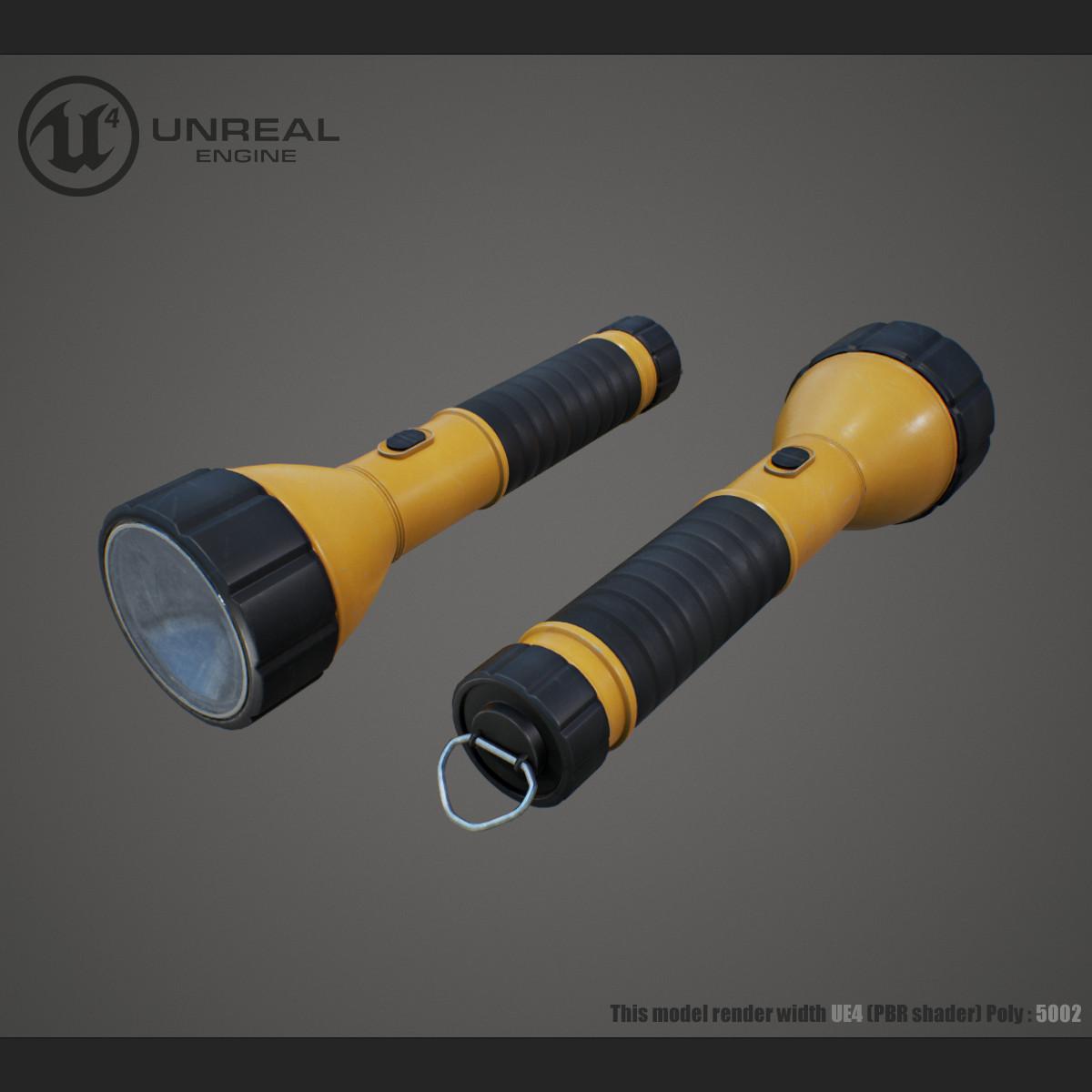 flashlight pbr unreal 3d max