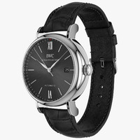 IWC Portofino Automatic Closed Black Leather Strap