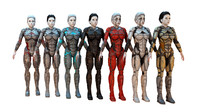 3d model cyborg female hd pack