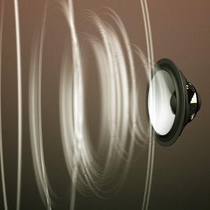 3d model of wave speaker cone animation