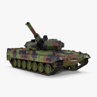 German Battle Tank Leopard 2A5 Rigged 3D Model