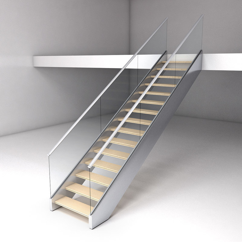 3d model steel modern stair