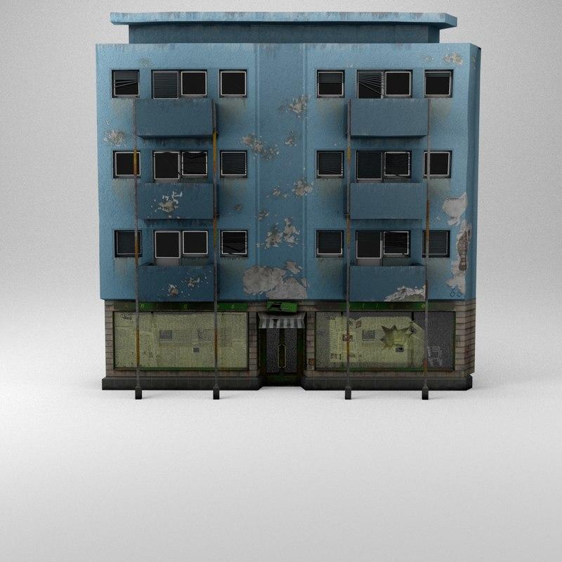 3d war-torn damaged house
