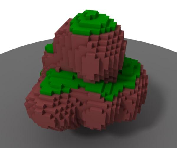 free obj model minecraft-style floating rock