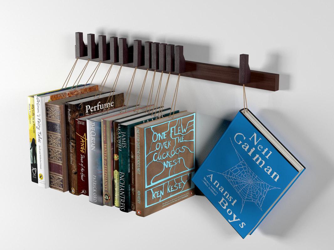 custom wooden book rack 3d model