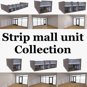 3d model of strip mall store units