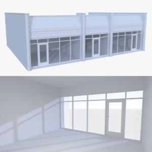 3d model strip mall store unit