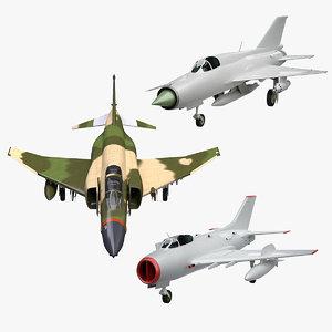 3d model f-4 phantom mig-21 mig-19