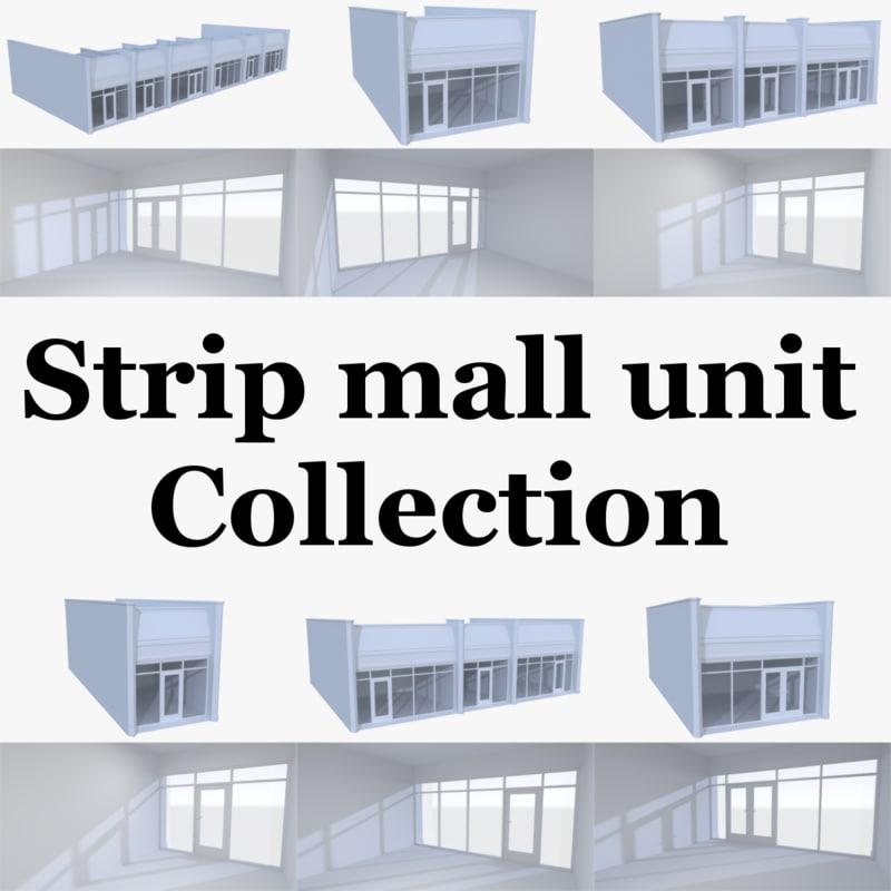 strip mall store units 3d model
