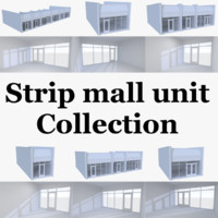 strip mall store units 3d model