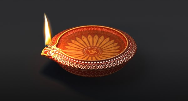 3d decorative indian diwali lamp model