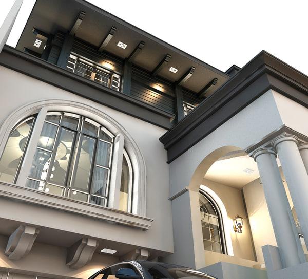 architecture design classic house 3d max