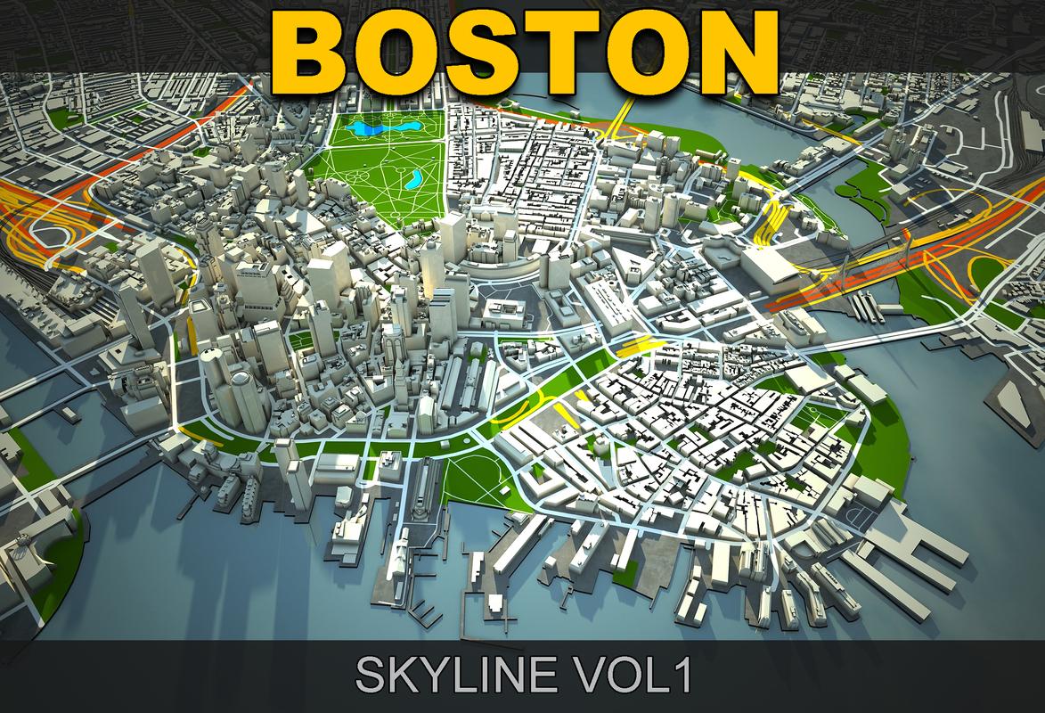 3d 3ds boston skyline