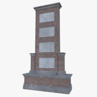 red brick sign 3d model