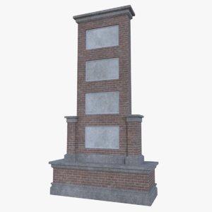 red brick sign 3d model