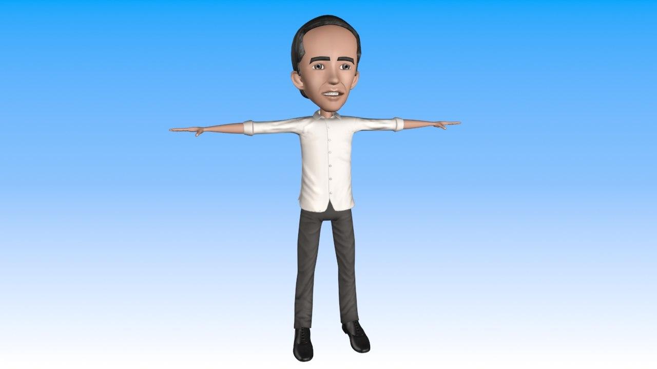 cartoon president indonesia 3d max