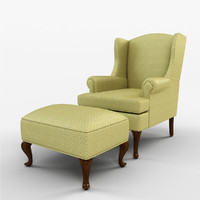 Damask Wingback Chair with Ottoman