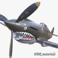 3d model pbr p-40 usa fighter