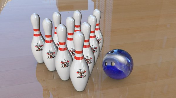 3d bowling pins ball model