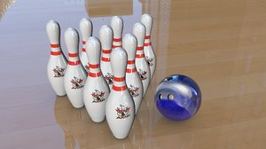 3d bowling pins ball model