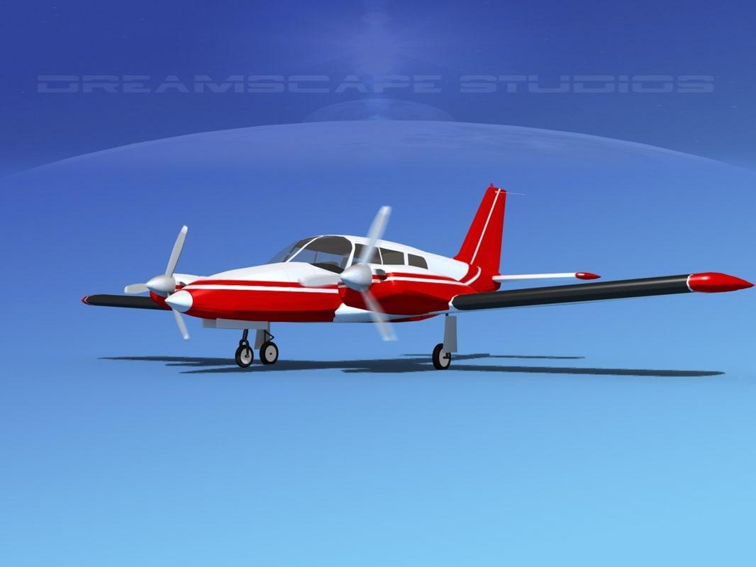 propeller pa-34 seneca 3d max