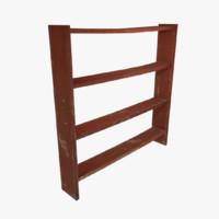 3d obj wooden wood shelf