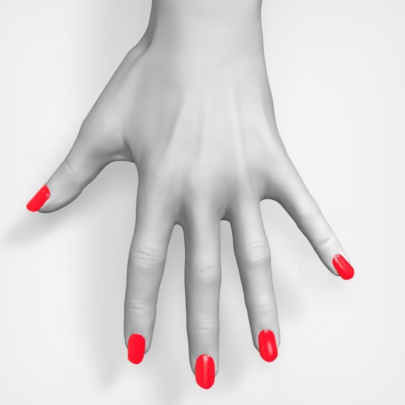 3d model beauty female hand