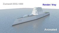 3d zumwalt ddg-1000 model