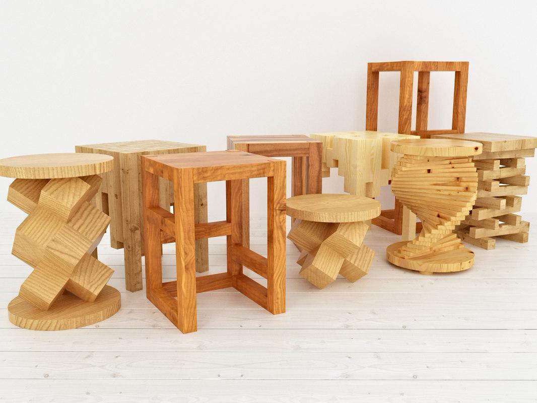 wooden stools 3d max