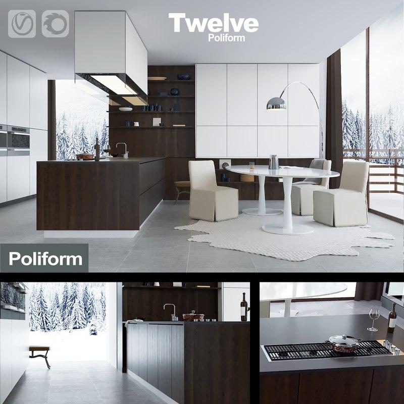 3d Kitchen Poliform Varenna Corona Model