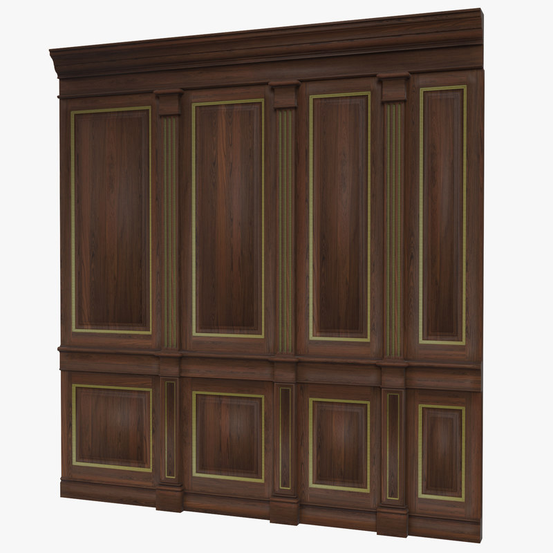 3d obj wooden panels wall