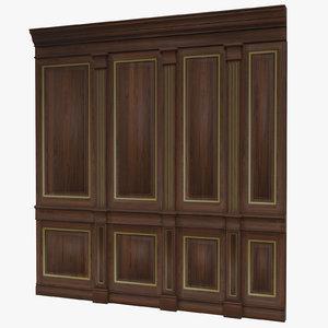 3d obj wooden panels wall