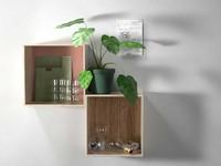 3d model wall shelves composition