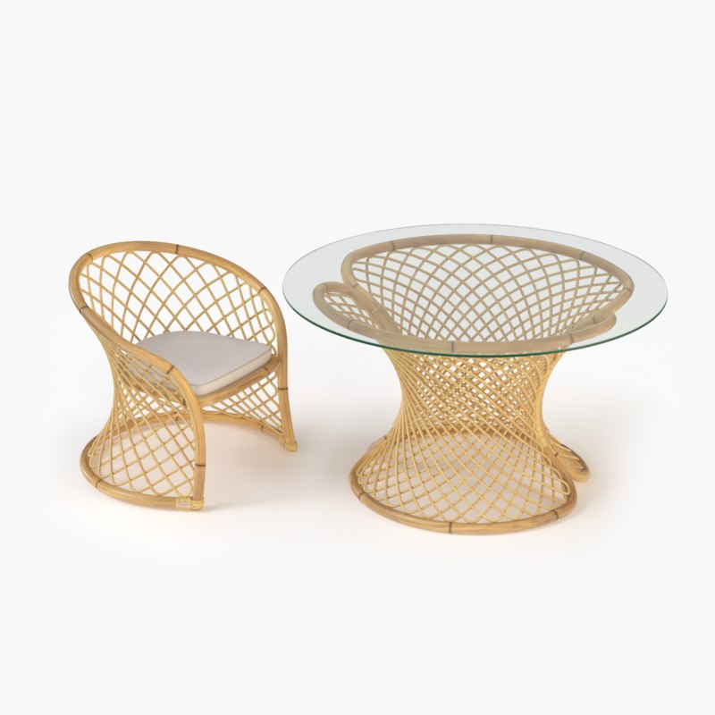 3d model elegant rattan chair table